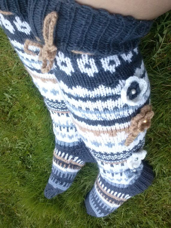 Hand knit over knee socks hand knitted socks flower by stankashop