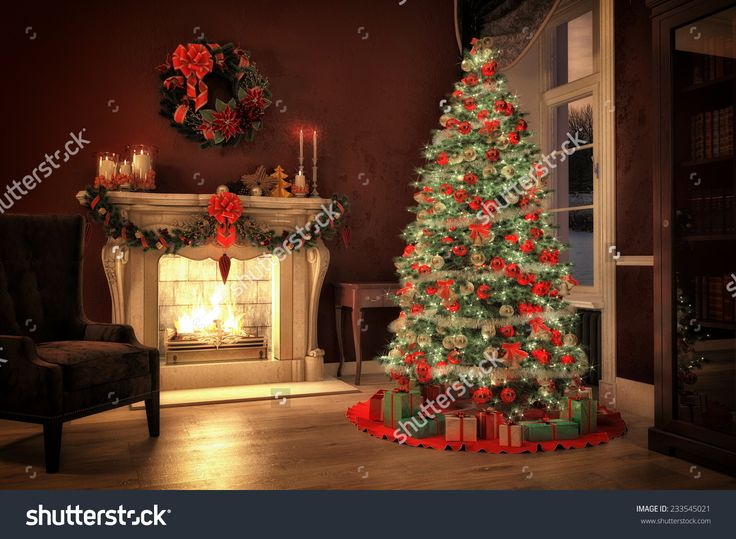 Christmas Scene With Tree Gifts And Fire In Background. 3d Rendering Stock Photo 233545021 : Shutterstock
