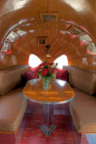 1936 Airstream Clipper --  this.  this is a slice of heaven.  the wood...steamed  until it could be curved to fit the shape.  bliss.