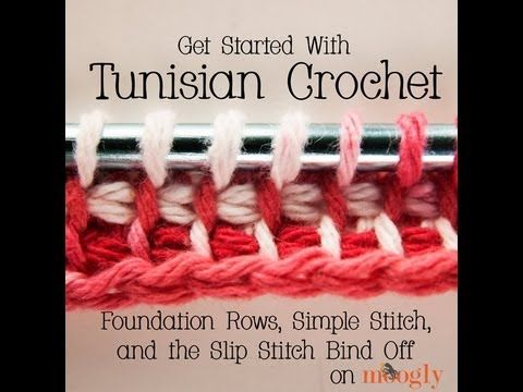 How to Crochet: Tunisian Crochet - Foundation Rows, Simple Stitch, and Slip Stitch Bind Off - YouTube