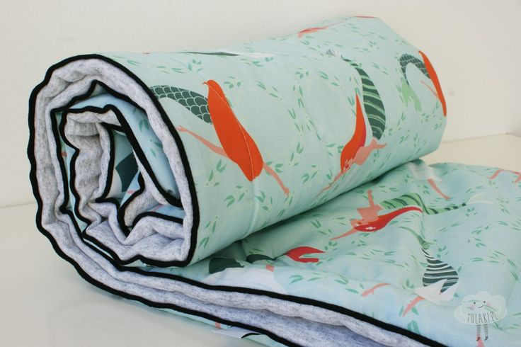 """Baby blanket from tulaki.pl with """"Mermaids"""" pattern by Aga Kobylinska"""