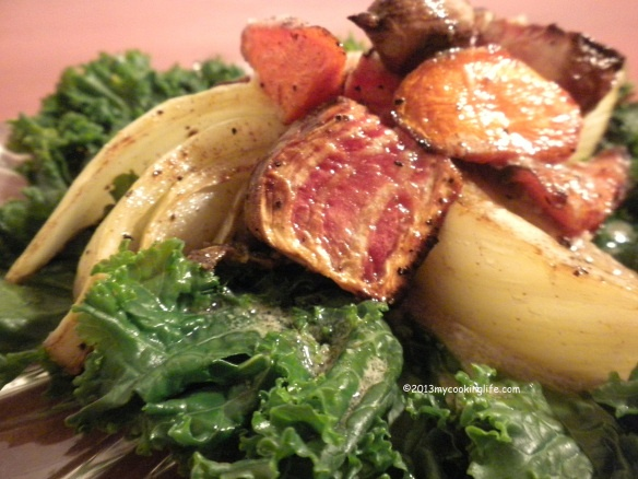 The mustard dressing turned out to be a great choice for the roasted beets.