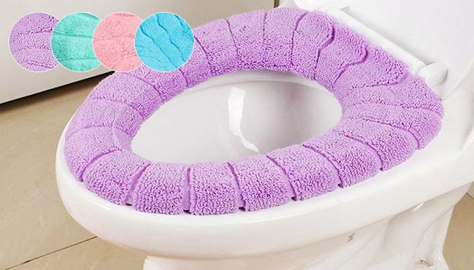 Buy Toilet Seat Cover - 4 Colours UK deal for just: £4.99 Wave goodbye to a cold rear with a Toilet Seat Cover      Made of high quality acrylic fibres, soft, warm and durable      Easy to install, machine washable      Available in 4 colours: purple, pink, blue or green      Save 67% and sit in comfort with a Toilet Seat Cover for 4.99 pound BUY NOW for just GBP4.99