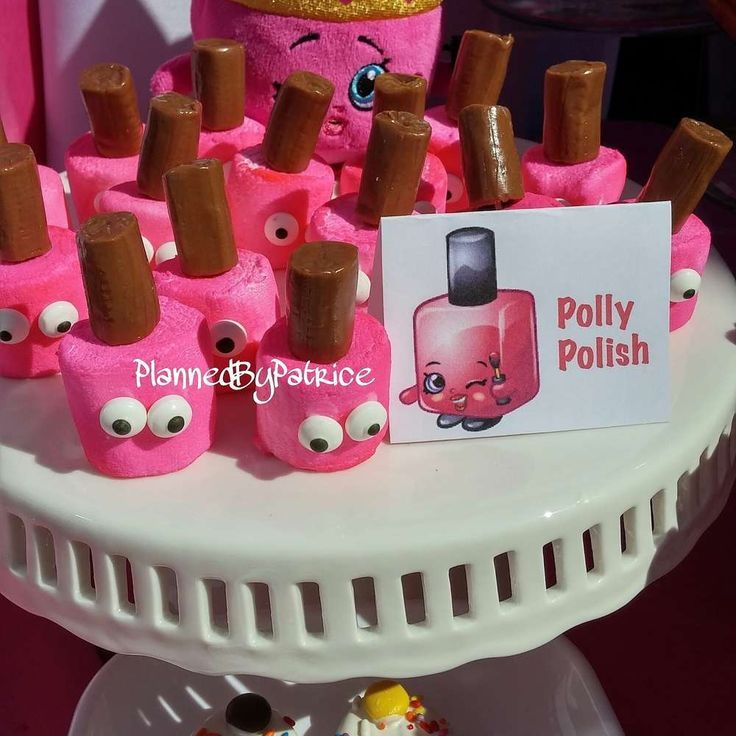 Loving these Polly Posh Marshmallows at this Shopkins Birthday party See more party ideas at http://CatchMyParty.com