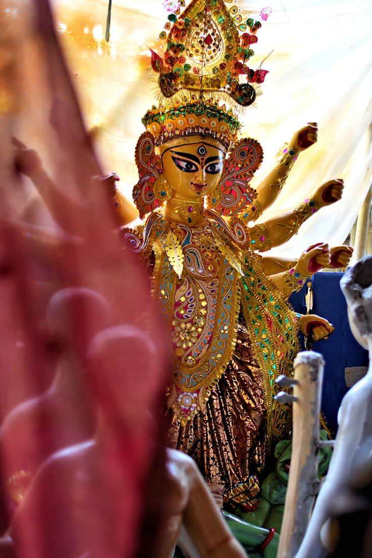 The Making of Goddess  Durga.                    Durga Puja in Kolkata