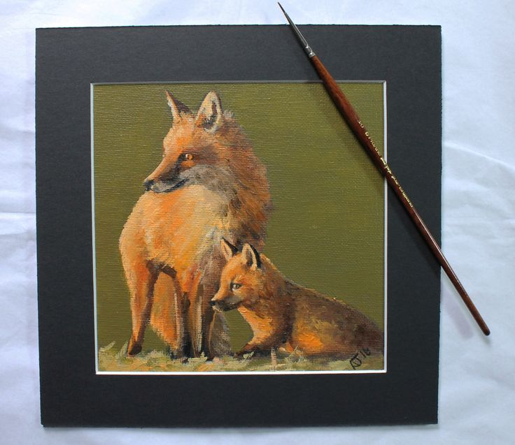 Foxes Rising Early (2016) by Alex Jabore red fox original ~ miniature wildlife…