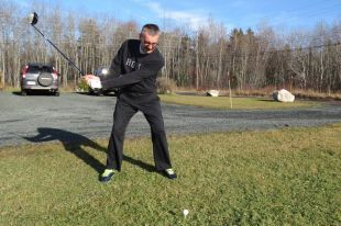 """Dave Duggan in 15 degree weather on Christmas Day 2015 hitting his Pro V1X balls down towards Stellarton. He says that,"""" one of his Abercrombie co-members, Wayne Atkinson, is supposed to hit them back but they never seem to make it."""""""