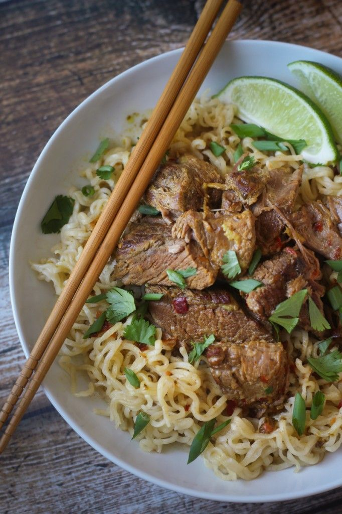 Crockpot Beef Curry with Noodles - no pre-cooking or marinating, just toss it in and let it cook! SO delicious.