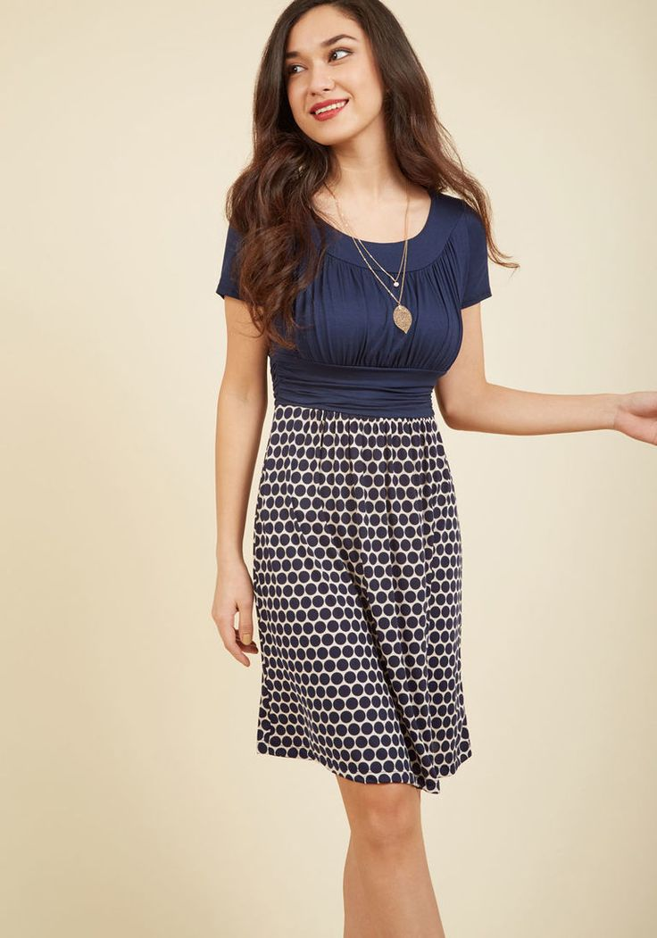 Style Obsession Jersey Dress in Navy Dots in 3X - Short Sleeve Twofer Knee Length - Plus Sizes Available