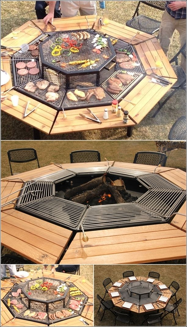 Grill that Can Serve as a Fire Pit and Table Too (aunque no sale como hacerlo, no la podía dejar pasar, está genial)