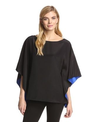 57% OFF Jay Godfrey Women's Capps Top with Contrast Lining (Black/Royal)