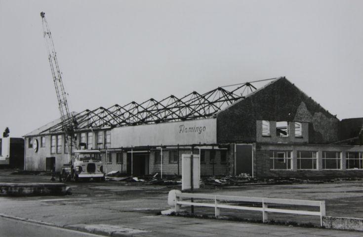 The demolition of the Flamingo Ballroom at Pool, Redruth, Cornwall before it was turned into a Safeway super market and then Morrisons.