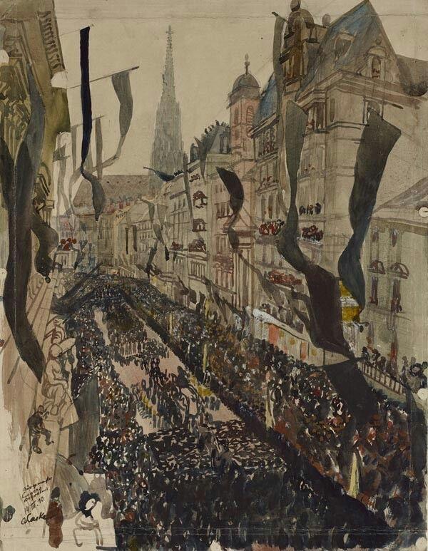Oskar Laske(Austrian, 1874-1951)  The funeral of the Mayor of Vienna Dr Karl Lueger (Begräbnis des Wiener Bürgermeisters Dr. Karl Lueger), 1910