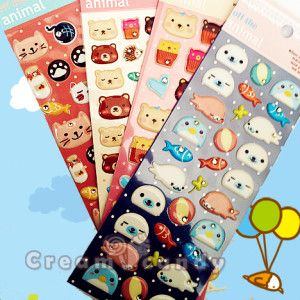 seal bear cat cupcake cute animals stickers puffy kawaii korean japanese stationery buy online australia new zealadn