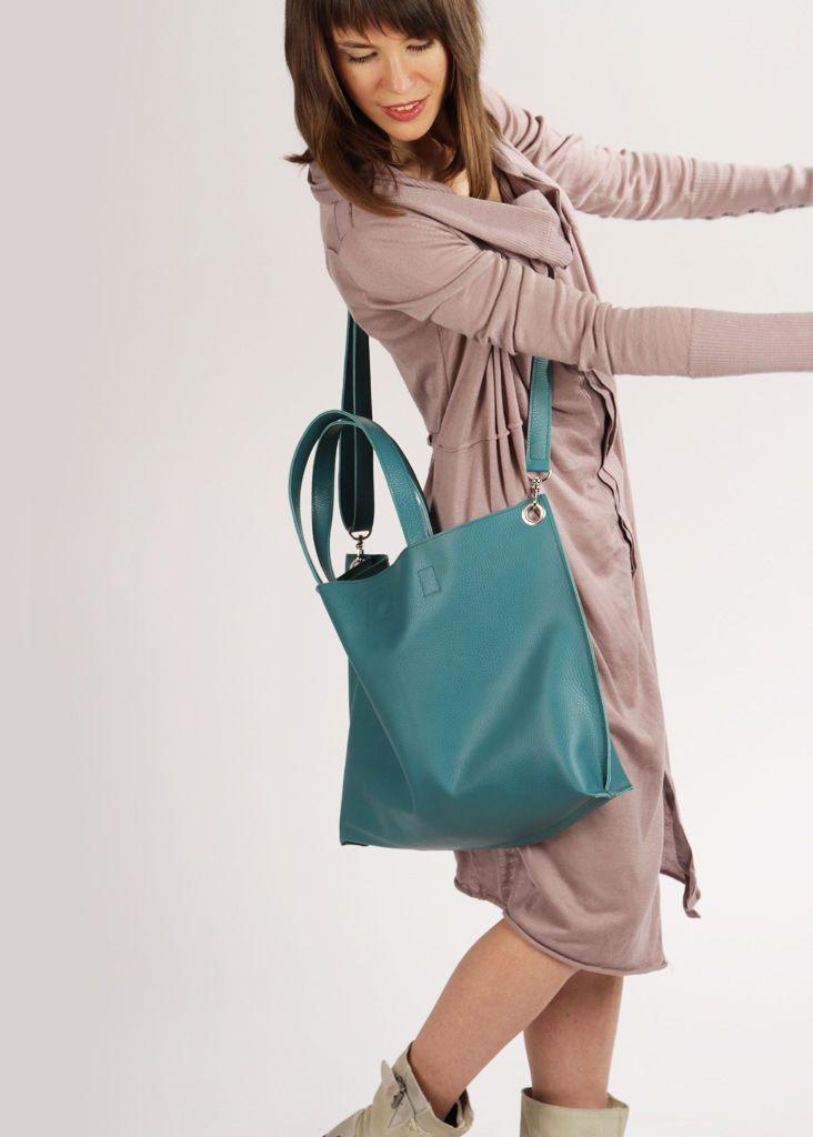 Купить Большая кожаная сумка шоппер через плечо Мишель Аквамарин - тёмно-бирюзовый, однотонный