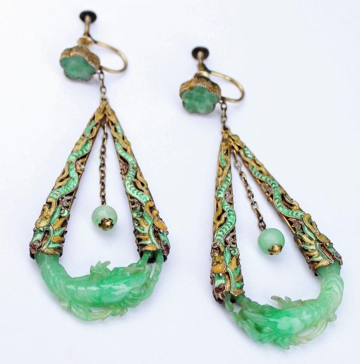 Antique Chinese Silver Enamel Carved Jade Earrings