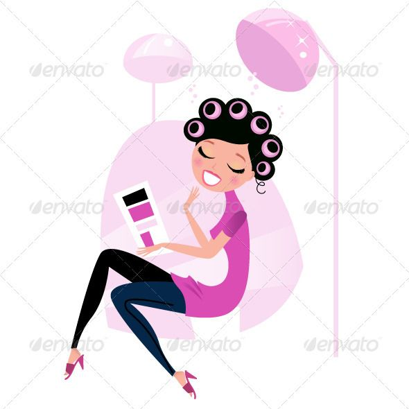 Cute beauty woman in pink hair salon - pink