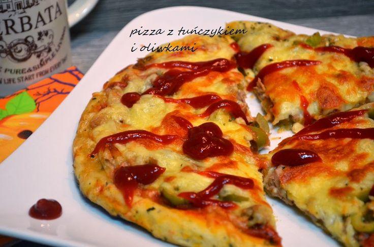 Smak, zapach, kolor, tradycja z nutką nowoczesności...: Pizza z tuńczykiem i oliwkami - chrupiąca pyszna p...