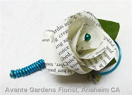 Literary Wedding Groom's Boutonniere