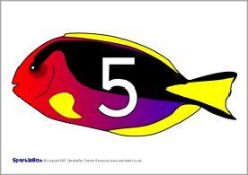 Čísla v 5s na rybách (SB755) - SparkleBox