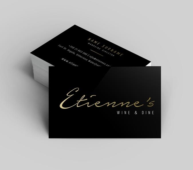 15 best business cards images on pinterest business cards carte a brand new glossy logo and business card dine for etiennes restaurant a new style reheart Gallery