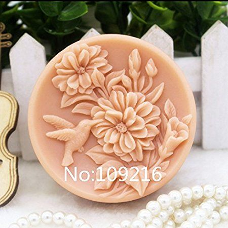 Creativemoldstore 1pcs Bird with Flower (zx141) Silicone Handmade Soap Mold Crafts DIY Mould