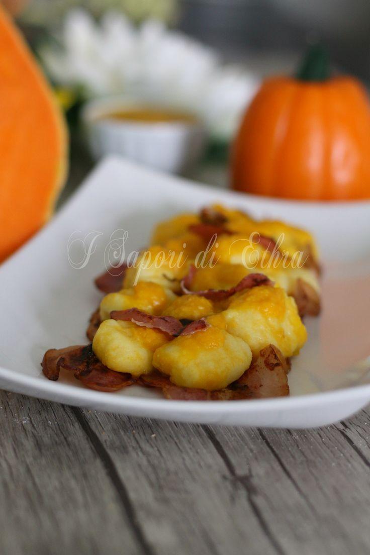 Gnocchi con crema di zucca e pancetta croccante