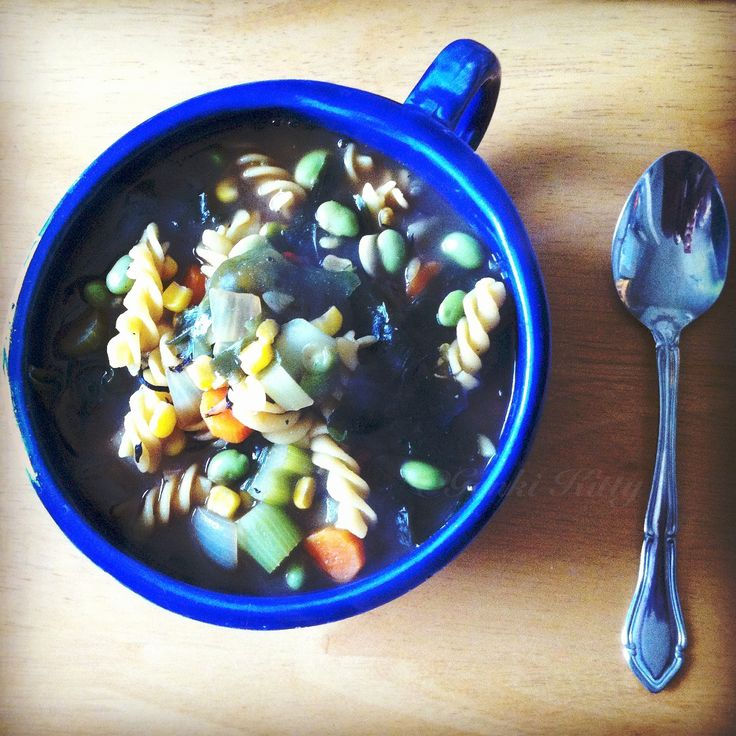 Homemade Vegetable Pasta Soup with Seaweed. #vegan #soup #pasta #recipe