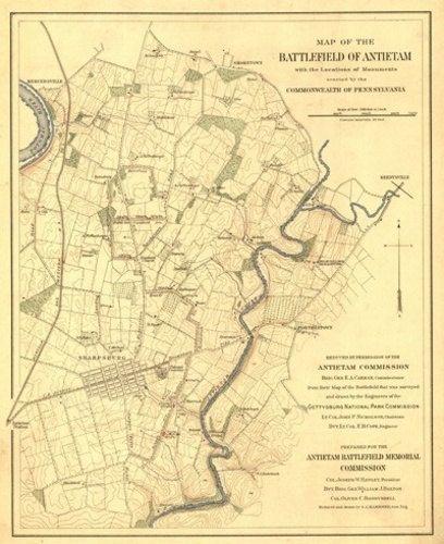 Battle of Antietam  Civil War Panoramic Map Art Prints