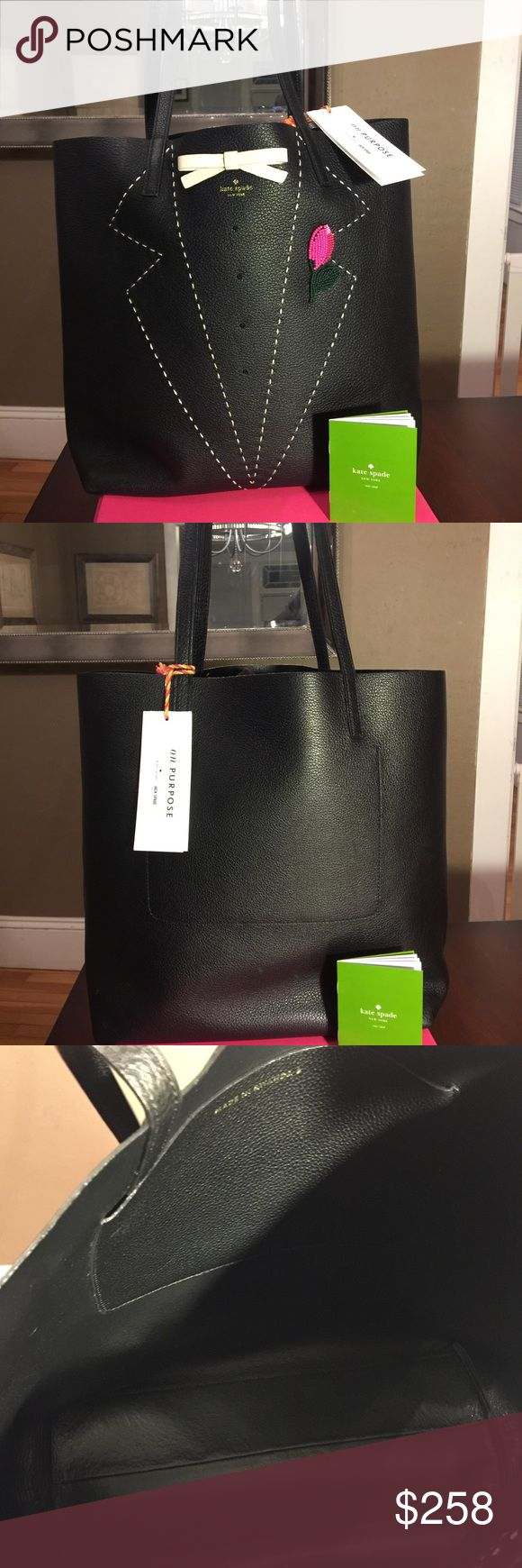 🎉sale🎉♠️Kate Spade tuxedo leat tote on purpose Beautiful all leather Kate spade tote. Detail are gorgeous. Color is black. Dimensions are H 12 1/2 x L 14. Comes with a dust bag. 100% authentic Kate Spade. 🚫No trade 🚫No low offers kate spade Bags Totes