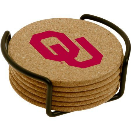 Set of Six Cork Coasters with Holder Included, University of Oklahoma, Multicolor
