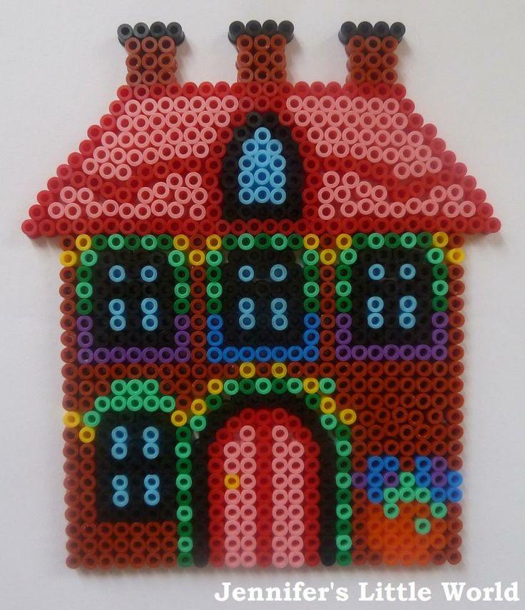 Hama bead house pegboard cottage