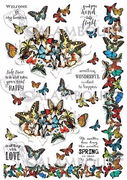 DGR 293  #decoupage #butterflies #phrases #farfalle #hobby #cartadiriso #ricepaper #craft #calambour #handmade #decoration