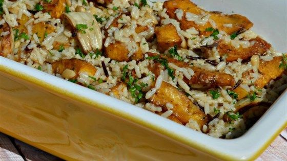 This fennel and acorn squash casserole with savory herb rice makes an easy and delicious side dish.