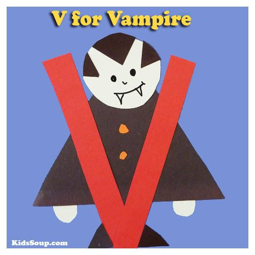 V for Vampire Halloween preschool letter V craft and cute vampire Song and movement