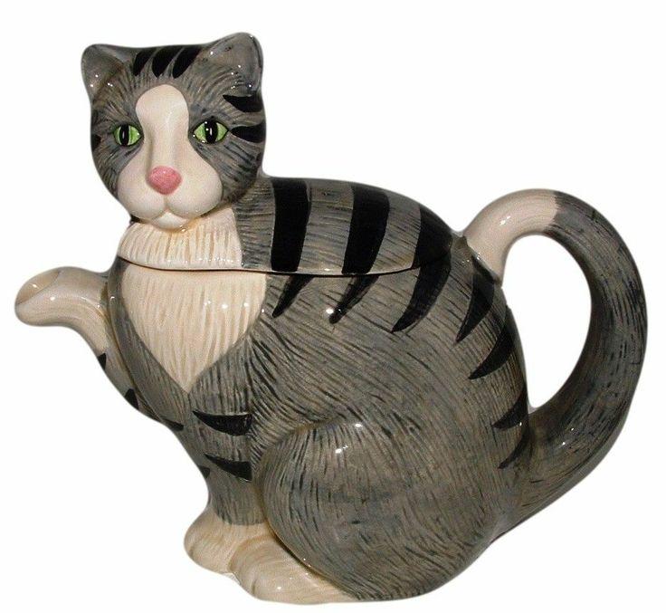 Vintage OTAGIRI Cat Tea Pot Teapot Tabby Kitty Gray by Elizabeth King Brownd