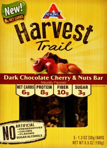 Image for Atkins Harvest Trail Dark Chocolate Cherry & Nuts Nutritional Bars