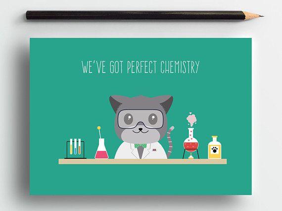 Cute love card, geeky love card, cat anniversary card, romantic card, cute animal card, cat lover card, cute cat card, sweet card, pets card