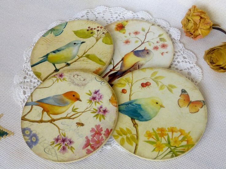 Wooden cup coaster with birds 4 set of cup coaster Round coaster Drink coaster cup Decoupage Stand for cup of coffee tea Kitchen accessories (15.35 USD) by DecoupageMezzanine