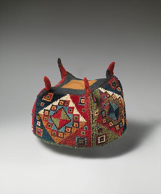 Four-Cornered Hat Date: 7th–9th century Geography: Peru Culture: Wari Medium: Camelid hair, cotton Dimensions: H x W: 4 7/8 x 6 7/8in. (12.4 x 17.5cm)