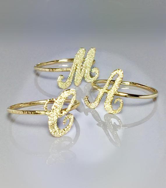14k 10k Solid Gold Script Initial Ring Gold Alphabet Ring Gold Letter Ring Gold Monogram Ring Gold Initial Ring Monogram Ring Gold Bridesmaid Rings