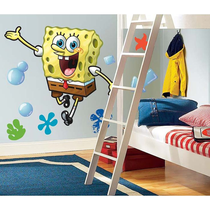 Measuring 30 Inches Tall This Spongebob Squarepants Decal Is Perfect For The Bedrooms Of Boys