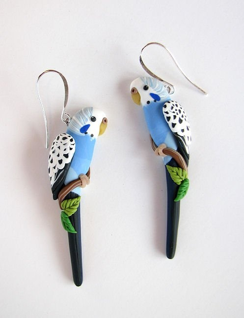 Budgie earrings! <3 http://www.parrotjewelry.com/instock.html