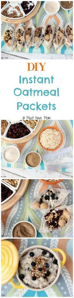 DIY Instant Oatmeal Packets recipe with Instructions and Ingredient Ideas. Assemble them and put them in the pantry for quick breakfasts or take them with you on the go! Heart healthy breakfast and it's homemade convenience food!
