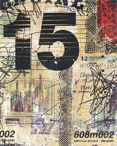 Multimedia collage by Kevin Cherry. I just love the mixture of styles, colors, textures in this mixed media piece.