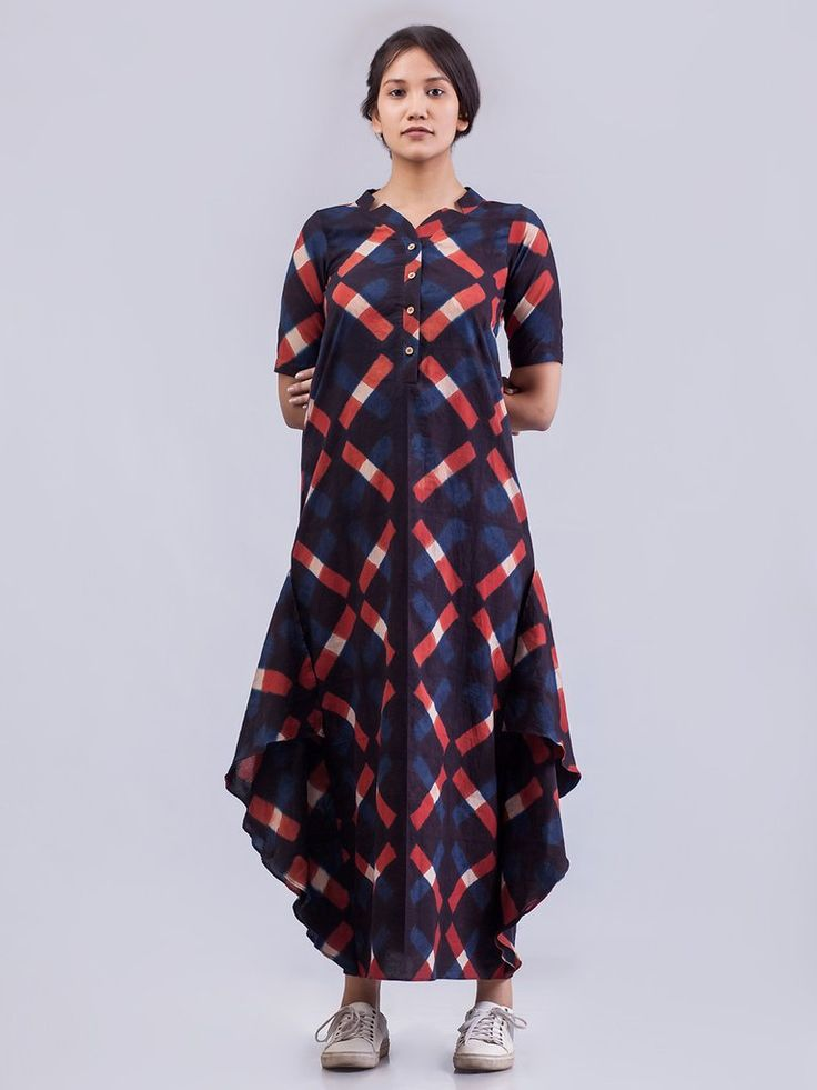 Ecru Red Indigo Organic Cotton Vega Side Flounce Dress