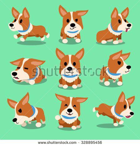 Cartoon character corgi dog poses - stock vector