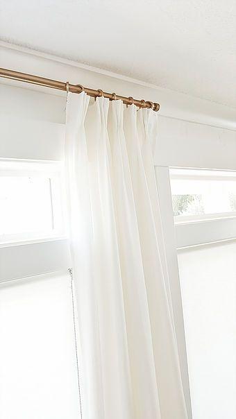 #whitelanedecor @whitelanedecor IKEA Ritva Pleated Curtains, white curtains and white walls, brass curtain rod, brushed brass curtain rod and clip rings, How to triple pleat your curtains.