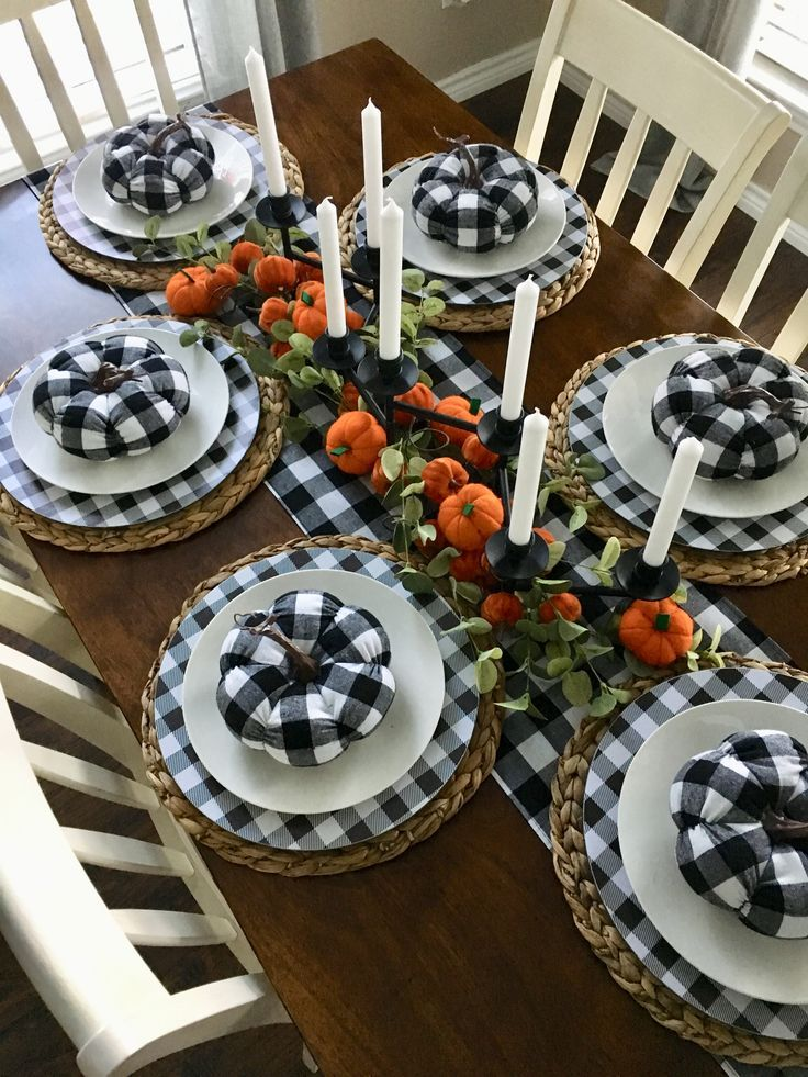 Black And White Buffalo Checkered Decorating Ideas Fall Table Decor Natural Thanksgiving Table Fall Home Decor