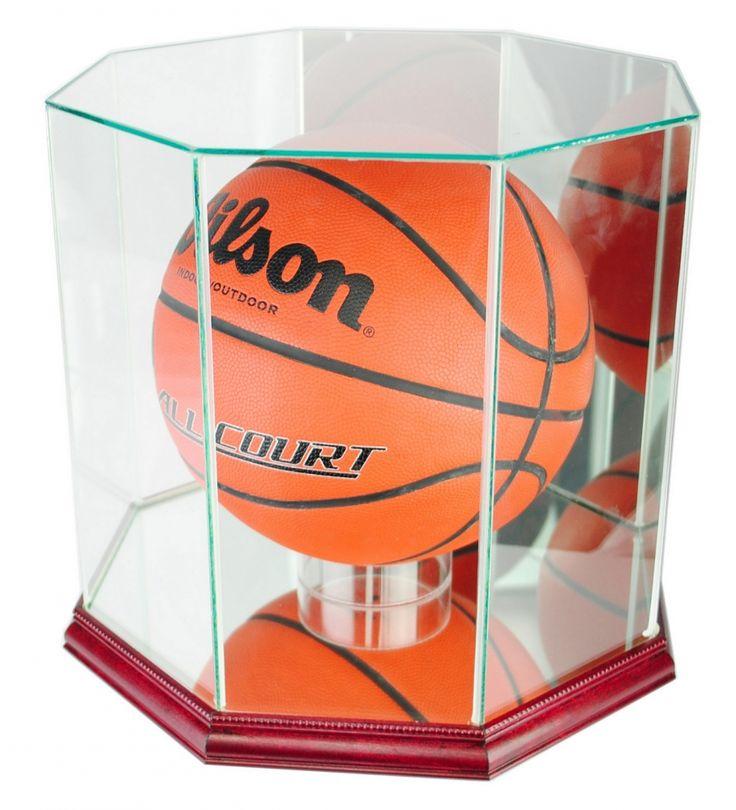 premium octagon fullsize basketball display case with mirrored back u0026 cherry wood base - Basketball Display Case